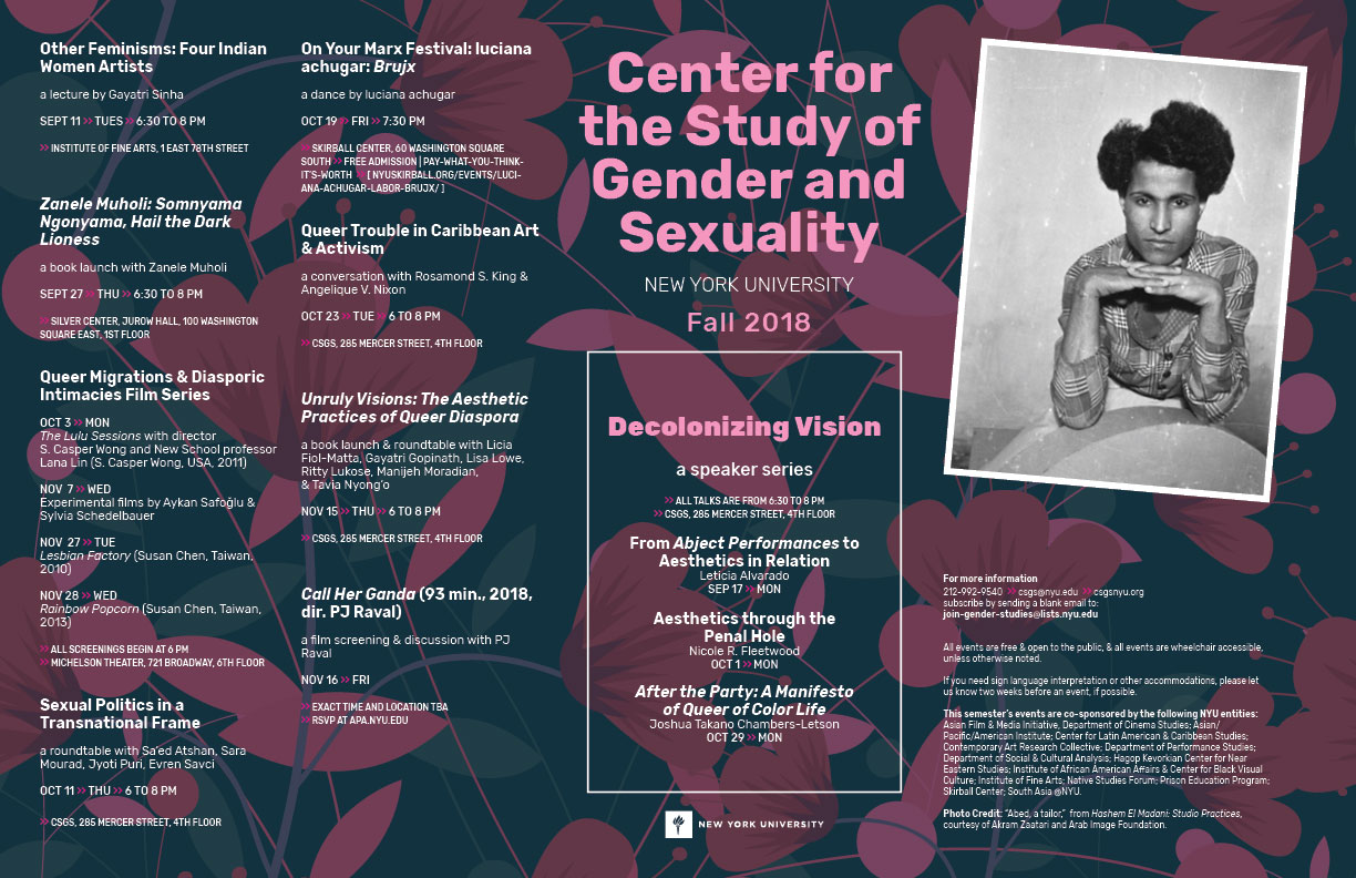 Center for the Study of Gender and Sexuality at NYU event poster