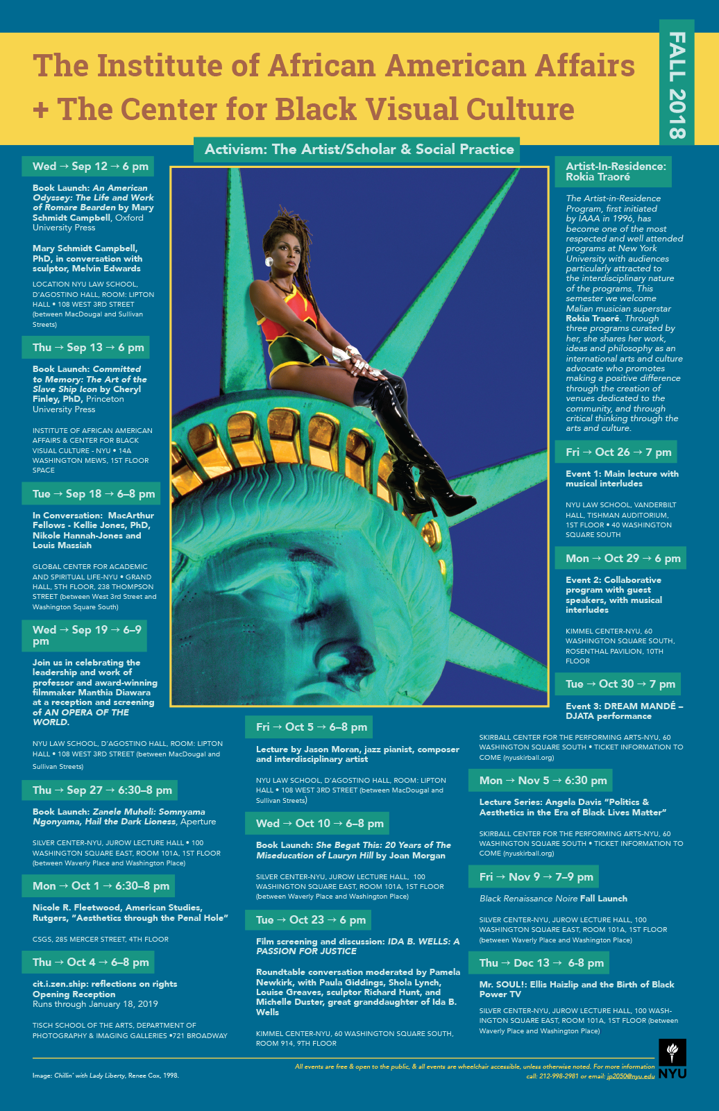 Institute of African American Affairs and Center for Black Visual Culture event poster