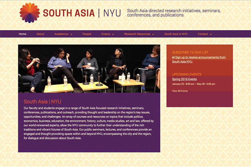 South Asia NYU website